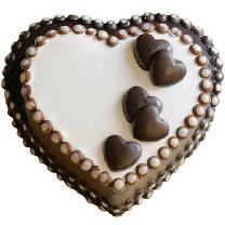 Double Heart On Chocolate Cake