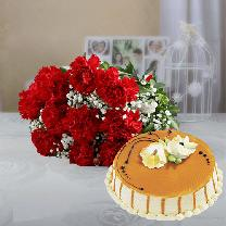 10 Red Carnations And 1/2 KG Butterscotch