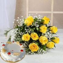 10 Yellow Roses And 1/2 KG Pineapple
