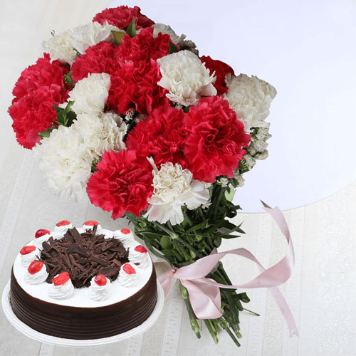 10 White & Red Carnations and 12 KG Black Forest