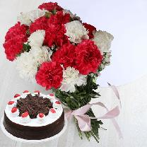 10 White & Red Carnations And 1/2 KG Black Forest