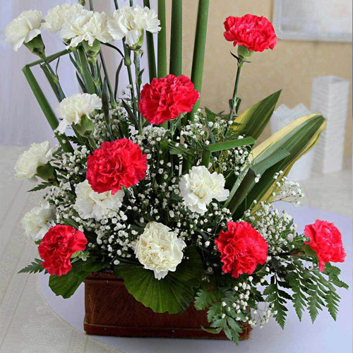 One-Sided-Basket-Arrangement-of-20-Mixed-Carnations