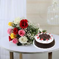 10 Mixed Roses And 1/2 KG Black Forest