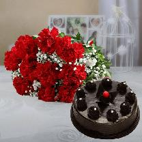 10 Red Carnations And 1 2 Kg Chocolate Truffle