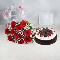 10 Red Roses And 1/2 KG Black Forest
