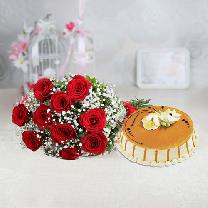 10 Red Roses And 1/2 KG Butterscotch