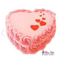 Half Kg Heart Shape Rose Cake